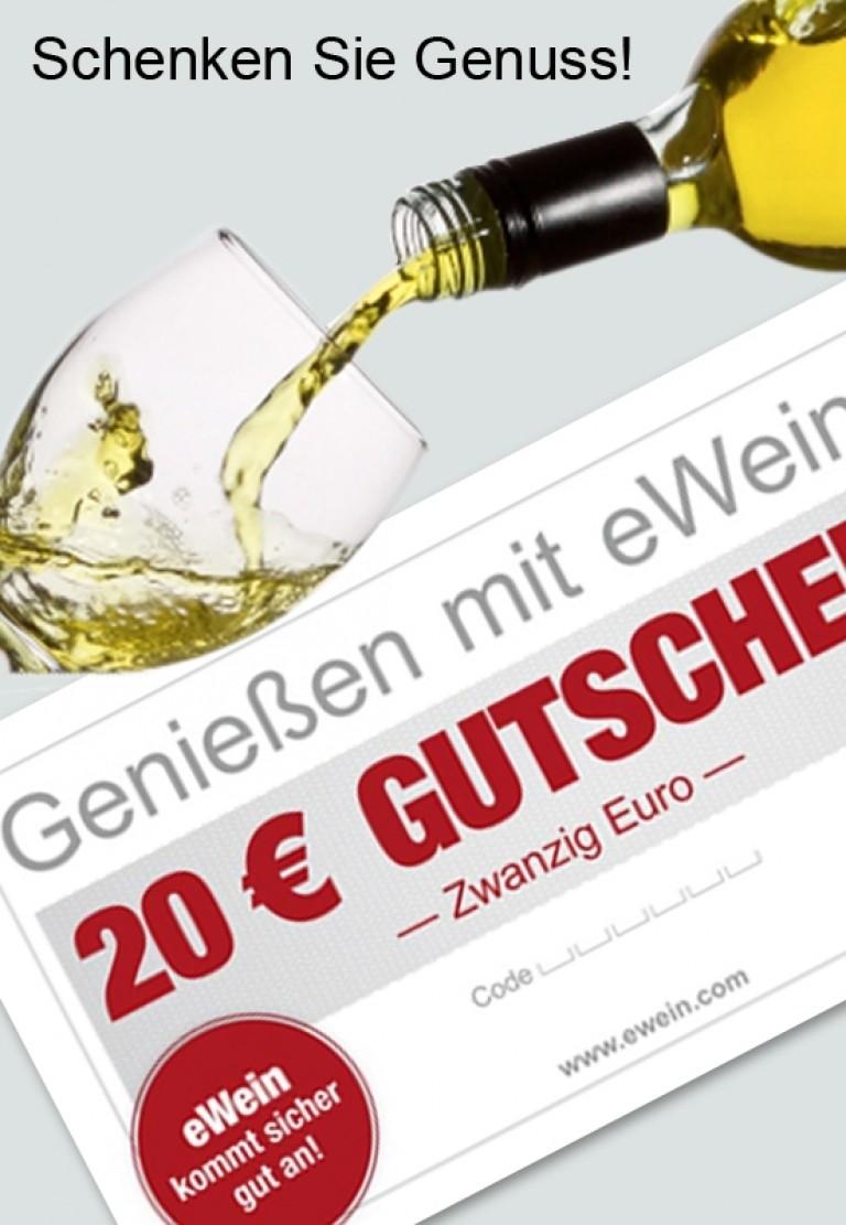 Gutschein 20 € gültig auf alle Weine und Spirituosen von eWein. Ideales Geschenk!